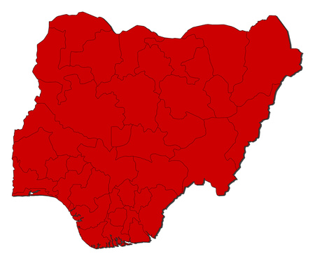 frontier: Map of Nigeria with the provinces, colored in red.