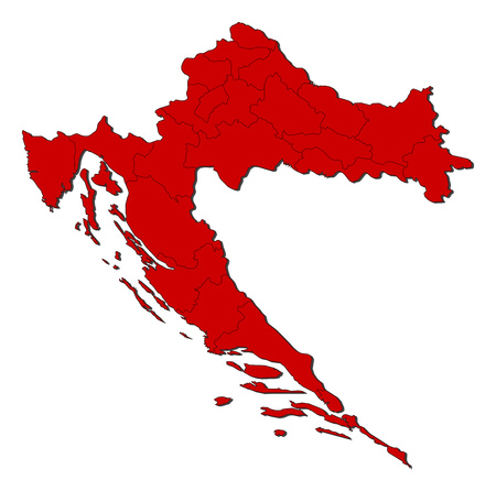 Map of Croatia with the provinces, colored in red.