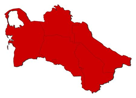 Map of Turkmenistan with the provinces, colored in red.