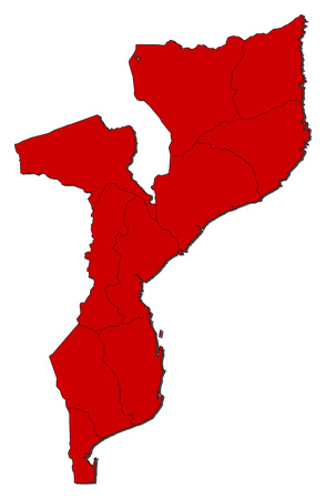 three colored: Map of Mozambique with the provinces, colored in red.