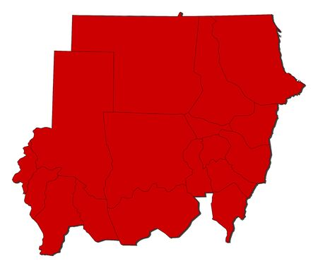 Map of Sudan with the provinces, colored in red.