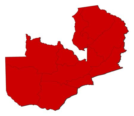 Map of Zambia with the provinces, colored in red.