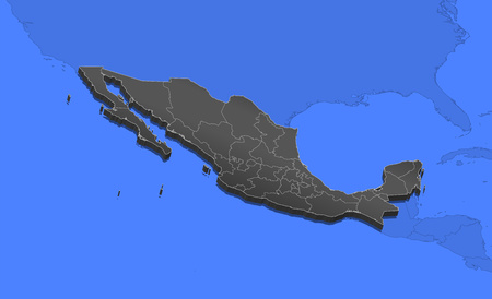 frontiers: Map of Mexico and nearby countries, Mexico as a black piece.
