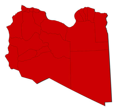 Map of Libya with the provinces, colored in red.