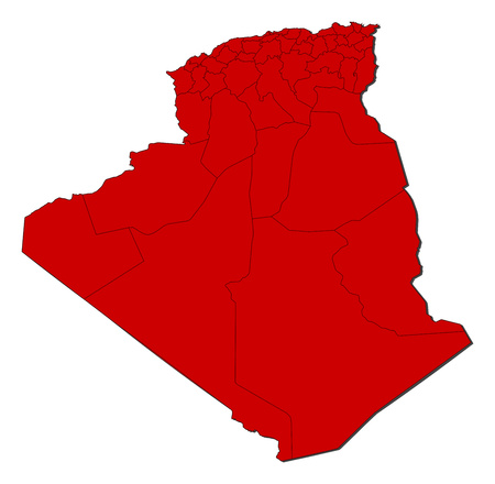 three colored: Map of Algeria with the provinces, colored in red.