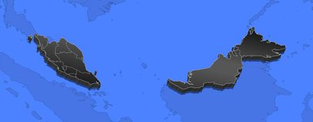 southeastern asia: Map of Malaysia and nearby countries, Malaysia as a black piece.