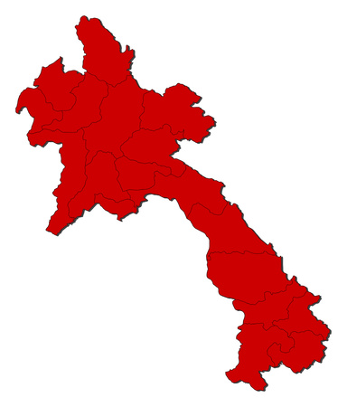 Map of Laos with the provinces, colored in red.