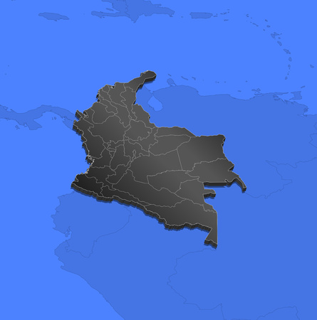 Map of Colombia and nearby countries, Colombia as a black piece.