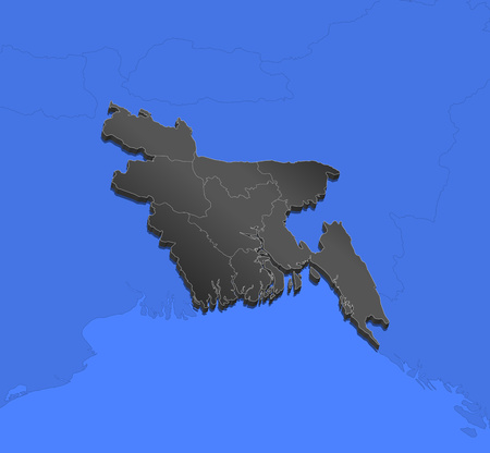 Map of Bangladesh and nearby countries, Bangladesh as a black piece. Illustration