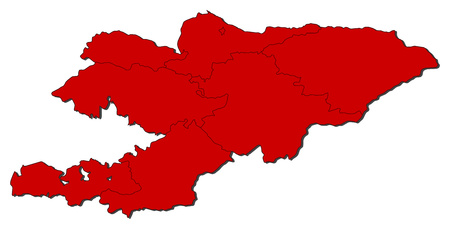Map of Kyrgyzstan with the provinces, colored in red.