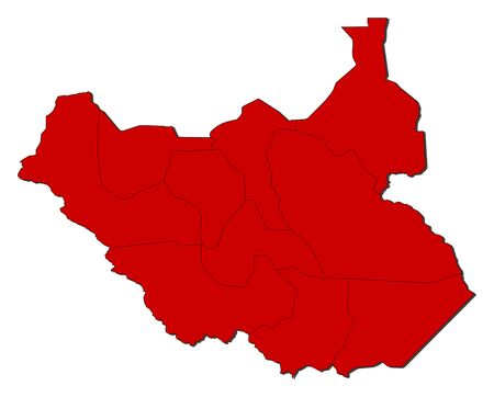 south sudan: Map of South Sudan with the provinces, colored in red.