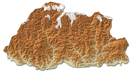 Relief map of Bhutan with shaded relief. Stock Photo
