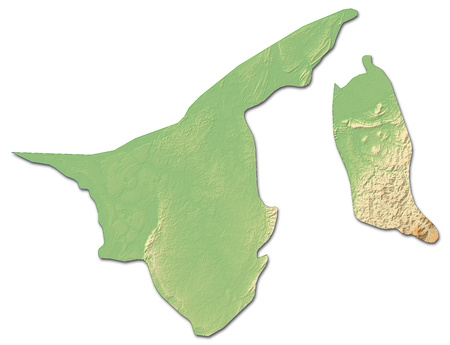 Relief map of Brunei with shaded relief.