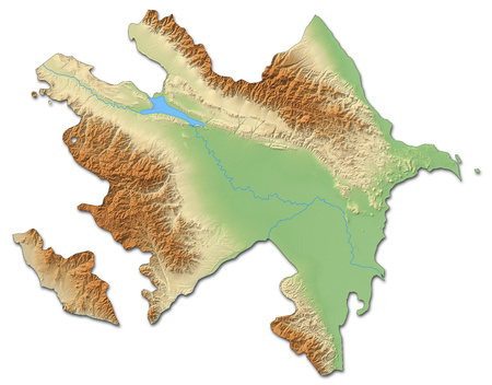 southwestern asia: Relief map of Azerbaijan with shaded relief.