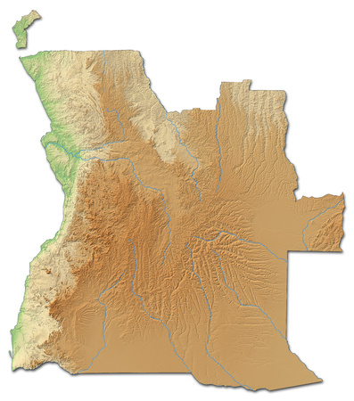 ngola: Relief map of Angola with shaded relief.