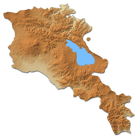 southwest asia: Relief map of Armenia with shaded relief.
