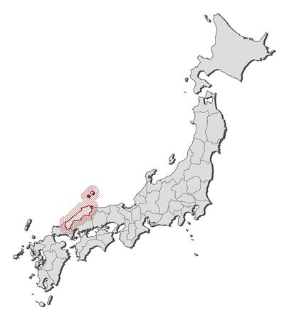 Map of Japan with the provinces, Shimane is highlighted by a hatching. Illustration