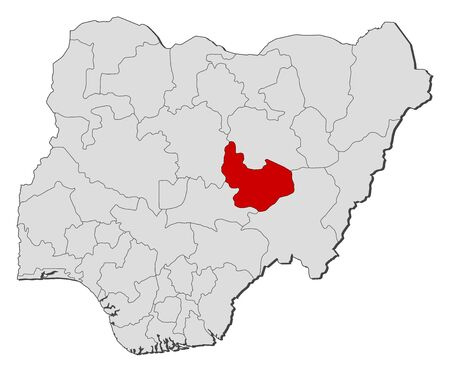 Map of Nigeria with the provinces, Plateau is highlighted.