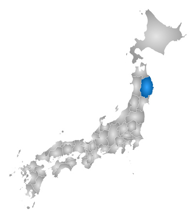 tone shading: Map of Japan with the provinces, filled with a radial gradient, Iwate is highlighted. Illustration