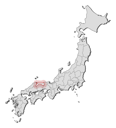 Map of Japan with the provinces, Tottori is highlighted by a hatching. Illustration