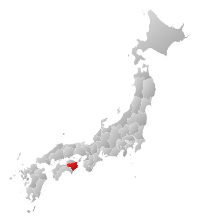 Map of Japan with the provinces, filled with a linear gradient, Tokushima is highlighted. Illustration