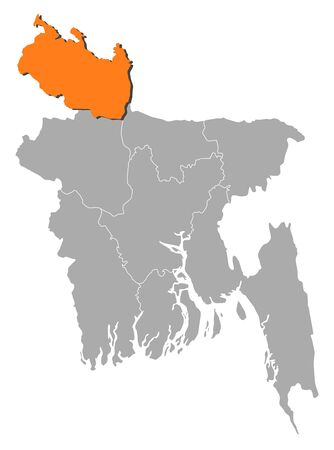 Map of Bangladesh with the provinces, Rangpur is highlighted by orange. Illustration