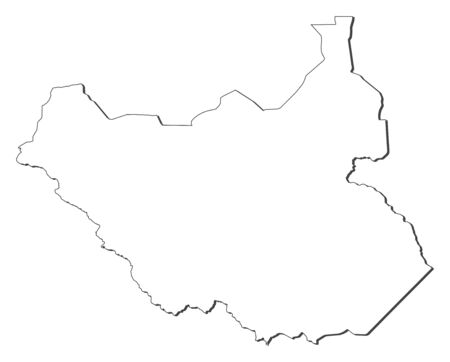Map Of South Sudan Contous As A Black Line Royalty Free Cliparts - Blackline us map