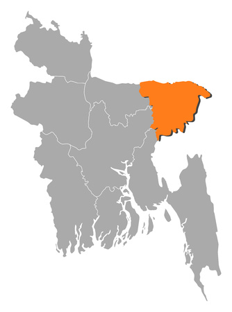 Map of Bangladesh with the provinces, Sylhet is highlighted by orange.