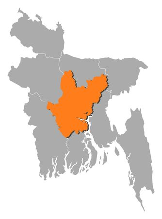 Map of Bangladesh with the provinces, Dhaka is highlighted by orange.