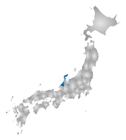 Map of Japan with the provinces, filled with a radial gradient, Ishikawa is highlighted.