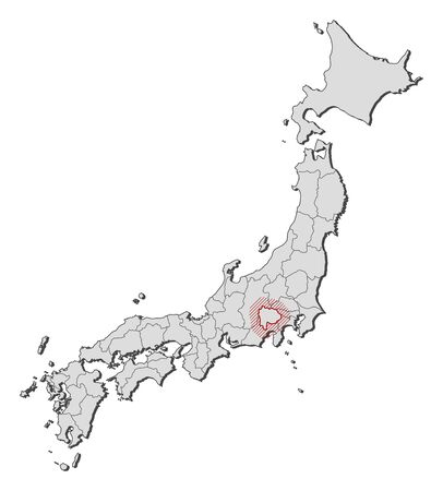 Map of Japan with the provinces, Yamanashi is highlighted by a hatching. Illustration