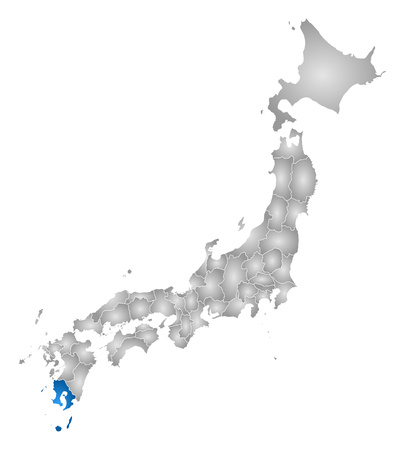 tone shading: Map of Japan with the provinces, filled with a radial gradient, Kagoshima is highlighted.