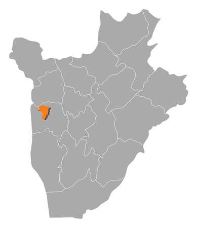 Map of Burundi with the provinces, Bujumbura Mairie is highlighted by orange. Illustration