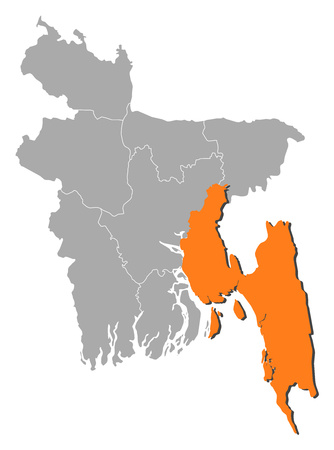 Map of Bangladesh with the provinces, Chittagong is highlighted by orange. Illustration
