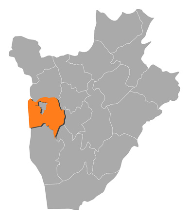 Map of Burundi with the provinces, Bujumbura Rural is highlighted by orange. Illustration