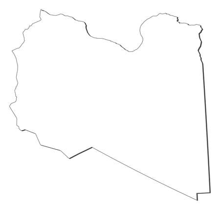 lybia: Map of Libya, contous as a black line. Illustration