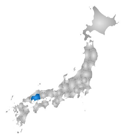 hiroshima: Map of Japan with the provinces, filled with a radial gradient, Hiroshima is highlighted.