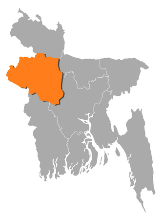 Map of Bangladesh with the provinces, Rajshahi is highlighted by orange.