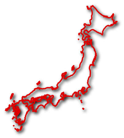 Map of Japan in red contour lines with Shadow.