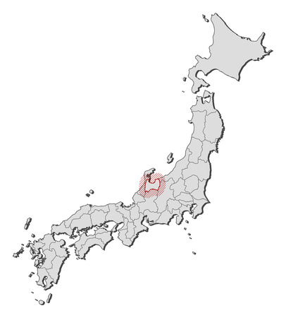 Map of Japan with the provinces, Toyama is highlighted by a hatching.