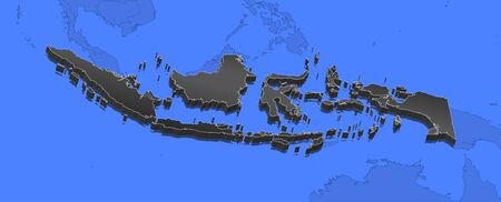 southeastern asia: Map of Indonesia and nearby countries, Indonesia as a black piece.