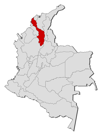 Map of Colombia with the provinces, Bolivar is highlighted.