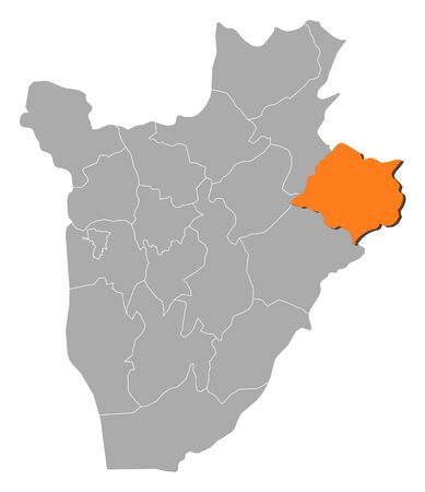 republique: Map of Burundi with the provinces, Cankuzo is highlighted by orange. Illustration