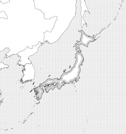 hatching: Map of Japan and nearby countries in black and white, Japan is highlighted by a hatching.