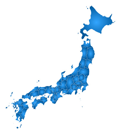 Map of Japan with the provinces, filled with a radial gradient.