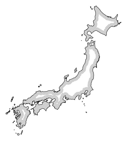 Map of Japan in black and white, Japan is highlighted by a hatching. Illustration