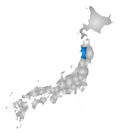 Map of Japan with the provinces, filled with a radial gradient, Akita is highlighted.