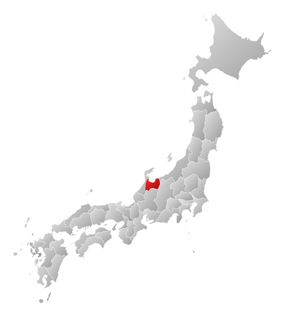 Map of Japan with the provinces, filled with a linear gradient, Toyama is highlighted.