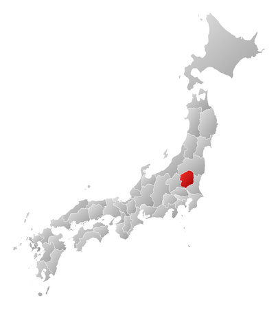 tone shading: Map of Japan with the provinces, filled with a linear gradient, Tochigi is highlighted.