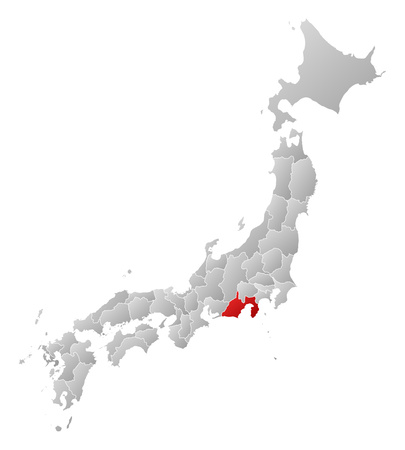 frontiers: Map of Japan with the provinces, filled with a linear gradient, Shizuoka is highlighted.